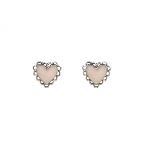 Tiny pink heart earrings