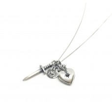 Tiny Multi Charm Heart Necklace